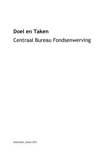Doel en Taken Centraal Bureau Fondsenwerving - CBF