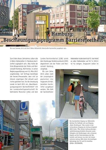 """Hamburg: """"Beschleunigungsprogramm Barrierefreiheit"""""""