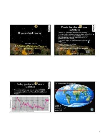 Origins of Astronomy - Tata Institute of Fundamental Research