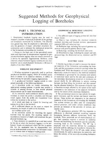 Suggested Methods for Geophysical Logging of Boreholes - ISRM
