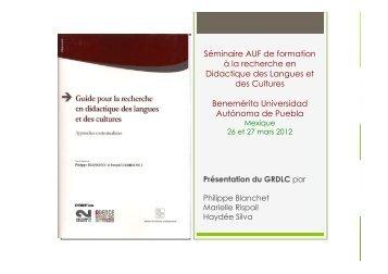 Présentation du Guide de recherche en didactique des ... - AUF