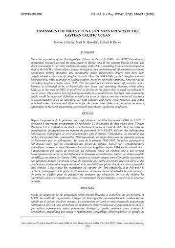 ASSESSMENT OF BIGEYE TUNA (THUNNUS OBESUS) IN ... - Iccat