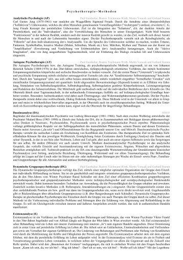 Info zu in Österreich geltenden Psychotherapie Methoden