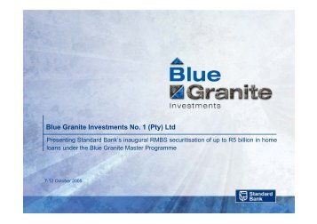 Blue Granite Investments No. 1 - Standard Bank - Investor Relations