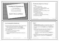 Grundlagen der Programmierung Kapitel 3: Klassen und Objekte