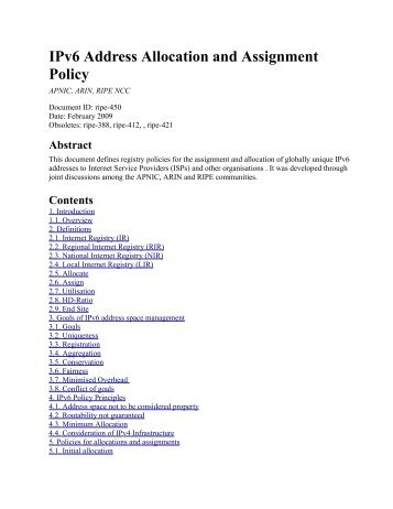 IPv6 Address Allocation and Assignment Policy - RIPE NCC