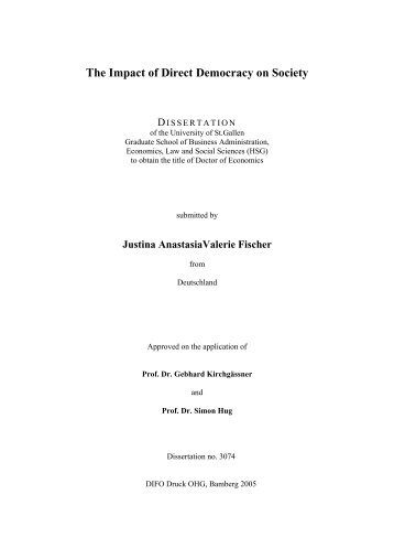 The Impact of Direct Democracy on Society - Universität St.Gallen