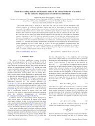 Finite-size scaling analysis and dynamic study of the critical ...