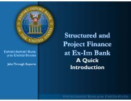 An Introduction to Project and Structured Finance at Ex-Im