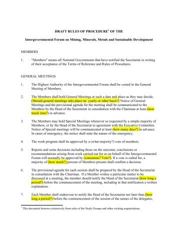 draft rules of procedure - The Intergovernmental Forum on Mining ...