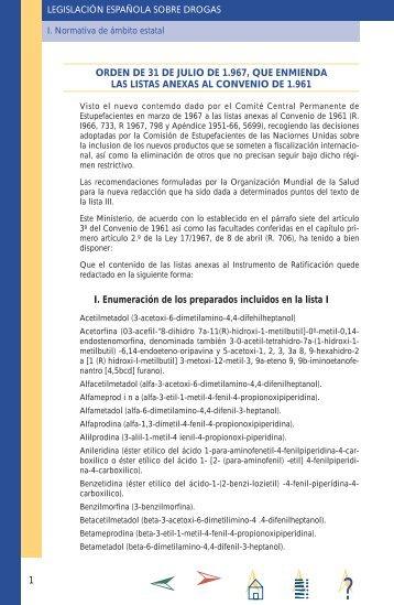 orden de 31 de julio de 1.967, que enmienda las listas anexas al