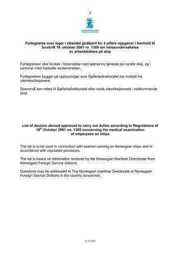 1 Fortegnelse over leger i utlandet godkjent for å utføre ... - TVU-INFO