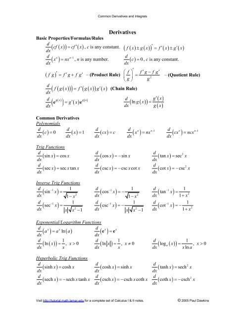 Common Derivatives and Integrals - Pauls Online Math Notes