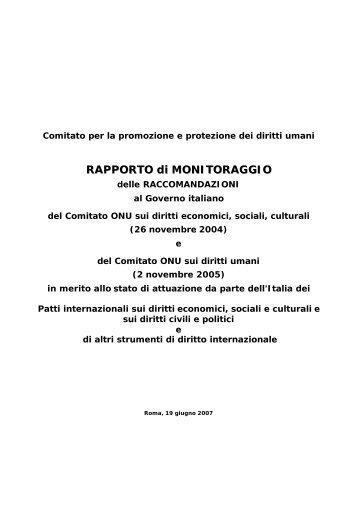 Rapporto di monitoraggio delle raccomandazioni al Governo italiano