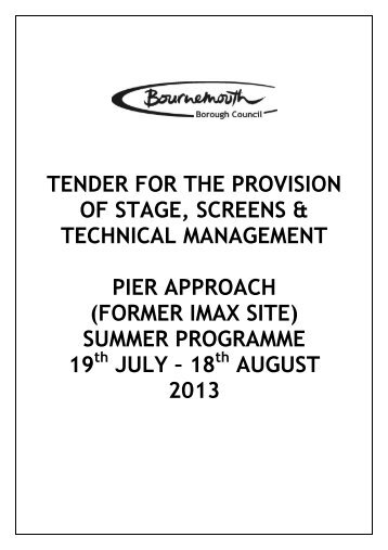 Stage and Screen Tender - Bournemouth