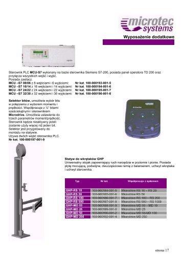 Katalog akcesoriów do urządzeń Microtec Systems - techsystem