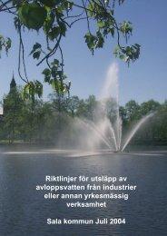 Riktlinjer för utsläpp av avloppsvatten från industrier ... - Sala kommun