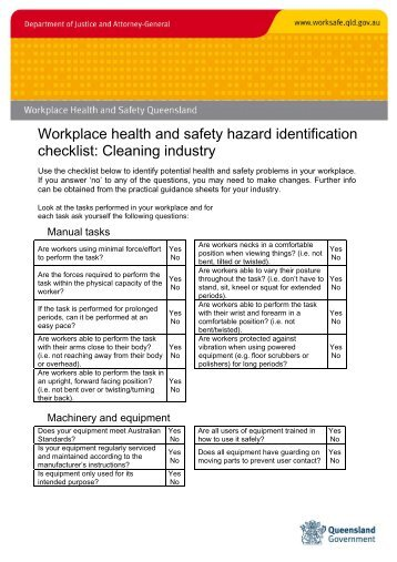 Workplace health and safety hazard identification checklist ...