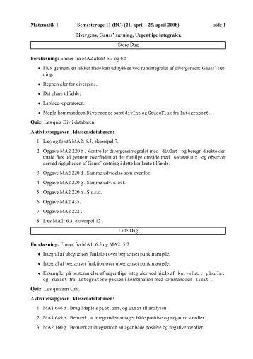 side 1 Divergens, Gauss' sætning, Uegentlige integraler. Store D