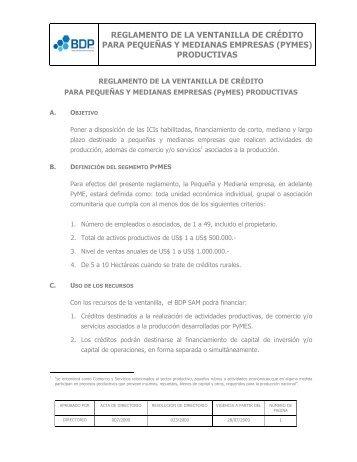 reglamento de la ventanilla de credito - Banco de Desarrollo ...