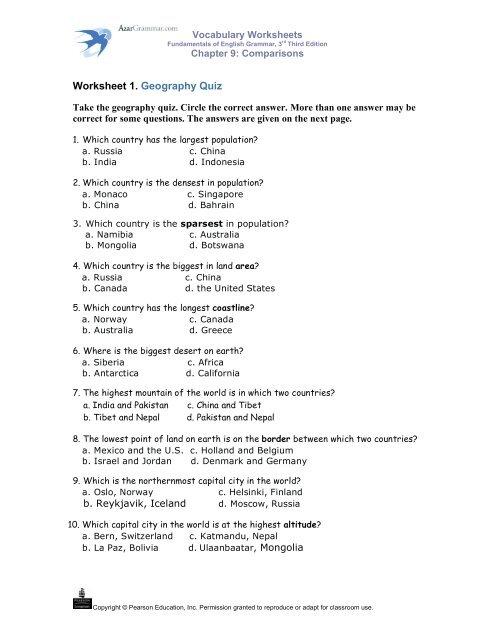 Worksheet 1. Geography Quiz - AzarGrammar.com