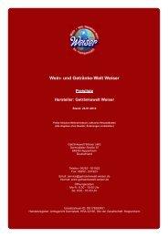 Preisliste für Hersteller: Getränkewelt Weiser - und Getränke-Welt ...