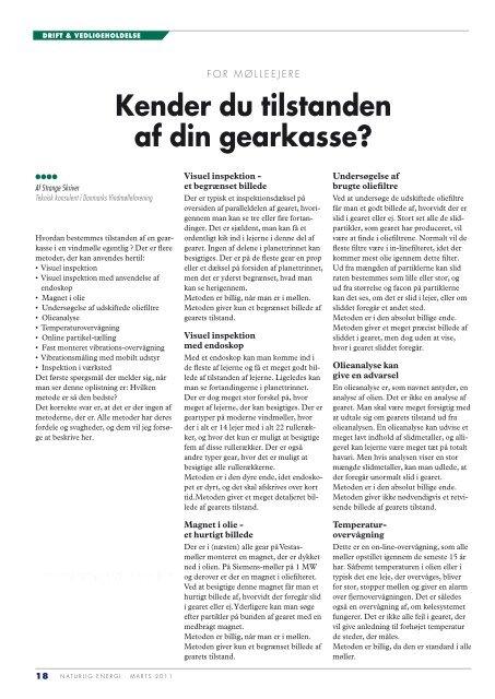 Kender du tilstanden af din gearkasse - Danmarks Vindmølleforening