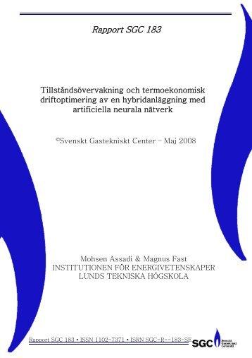 SGC Rapport 183 Tillståndsövervakning och termoekonomisk ...