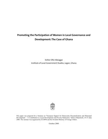 Promoting the Participation of Women in Local Governance and ...