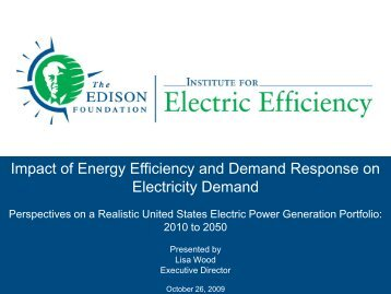 Impact of Energy Efficiency and Demand Response on Electricity ...