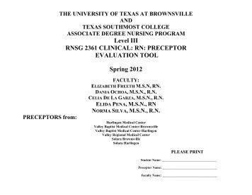 RN: PRECEPTOR EVALUATION TOOL Spring 2012 - The University ...
