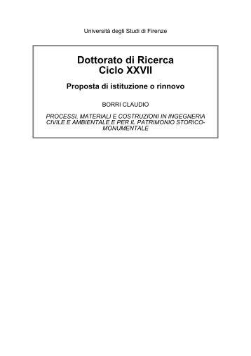 Dottorato di Ricerca Ciclo XXVII - Dipartimento di Ingegneria Civile e ...