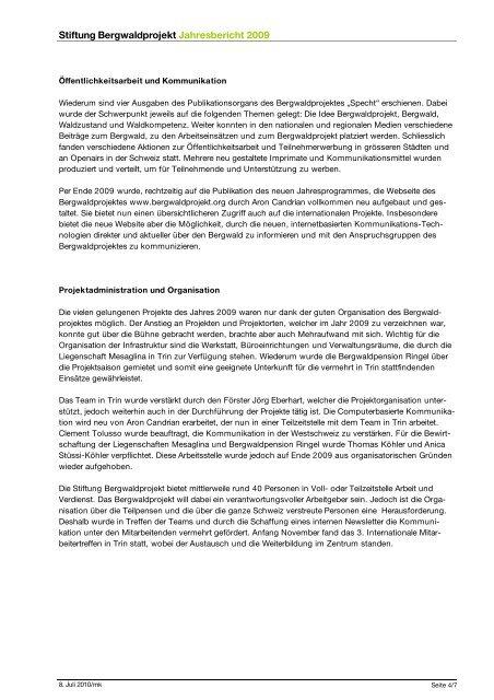 Jahresbericht 2009 - Bergwaldprojekt
