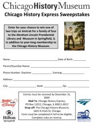 Chicago History Express Sweepstakes Entry Form