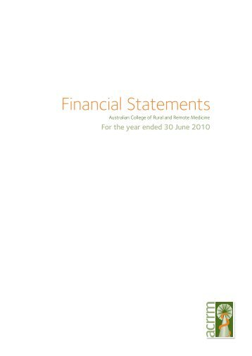 Financial Statements - Australian College of Rural and Remote ...