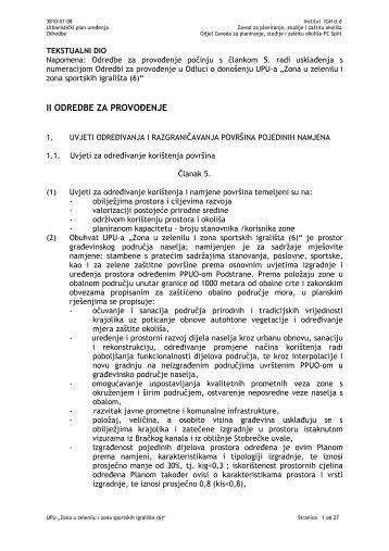 II ODREDBE ZA PROVO ENJE - Općina Podstrana