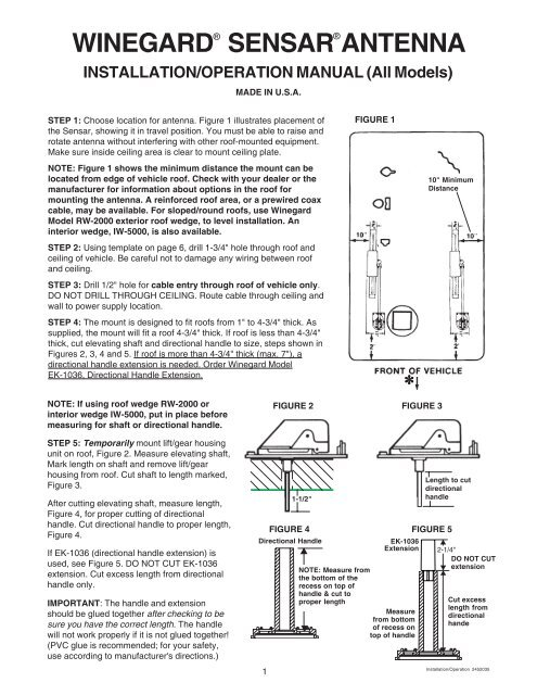 Winegard Sensar Antenna Installation/Operation ... - Dutchmen RV | Winegard Rv Antenna Wiring Diagram |  | Yumpu