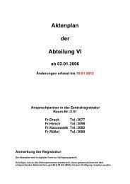 Aktenplan der Abteilung VI