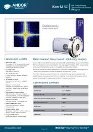 www.andor.com discover new ways of seeing™ Specifications ...