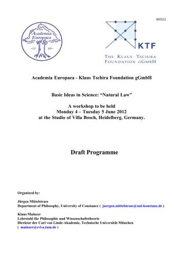 Draft Programme - Academia Europaea