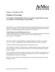 December 31, 2011 Evidence of - AvMed