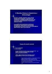 Il Rischio Clinico in Ostetricia e Ginecologia