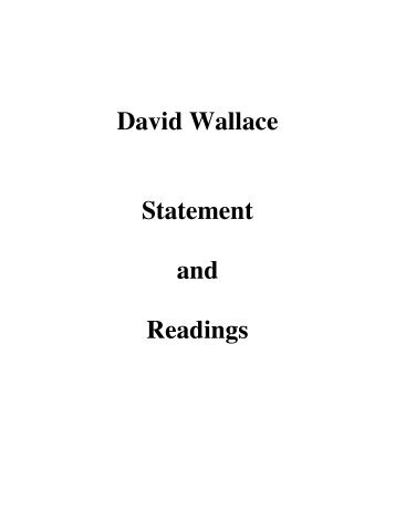 David Wallace Statement and Readings - PiTP