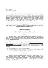 Odluka o uvjetima upisa u višu godinu diplomskog studija