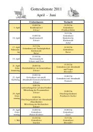 Gottesdienstplan 2011 - 2. Quartal