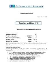 résultats semestriels 2013 CIC, CM11-CIC - Banque Fédérative du ...