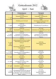 Gottesdienstplan 2012 - 2-1. Quartal - Evangelische ...