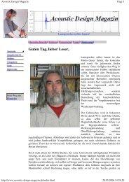 FirstTime 1 - Acoustic Design Magazin