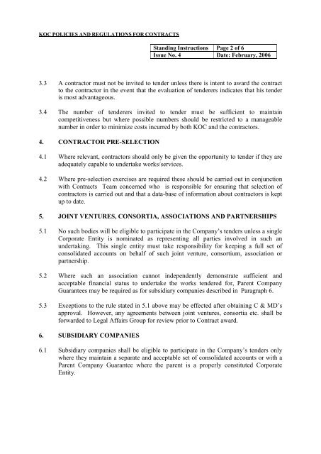 KOC Policies and Regulations for contracts - Kuwait Oil Company