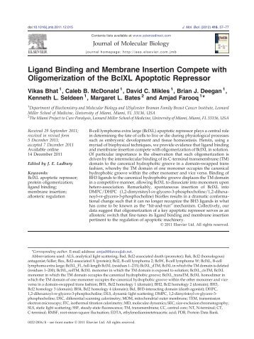 Ligand Binding and Membrane Insertion Compete with ...